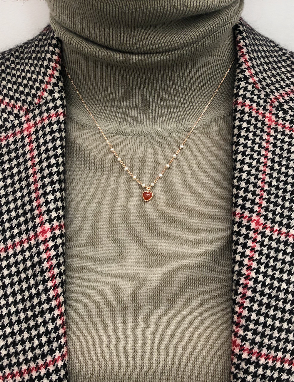 Red Pearl Heart Necklace